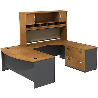 Bush® Westfield Collection in Natural Cherry; 72W U-Workstation w/ Lateral File & Hutch, Assembled