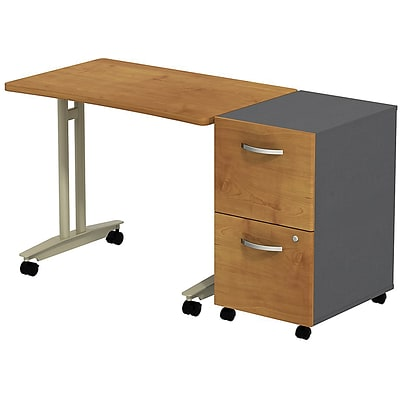 Bush Westfield Adj. Hgt Mobile Table w/ 2-Dwr Mobile Pedestal; Nat Cherry/Graphite Gray, Installed
