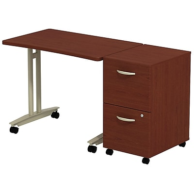 Bush Business Westfield Adj. Hgt Mobile Table w/ 2-Dwr Mobile Pedestal; Cherry Mahogany, Installed
