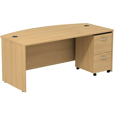 Bush Business Westfield 72W Bowfront Desk with 2-Drawer Mobile Pedestal; Danish Oak, Installed
