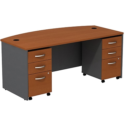 Bush West 72W BowFrnt Shell Desk w/(2) 3-Dwr Mobile Pedestal; Autumn Chry/Graphite Gray, Installed