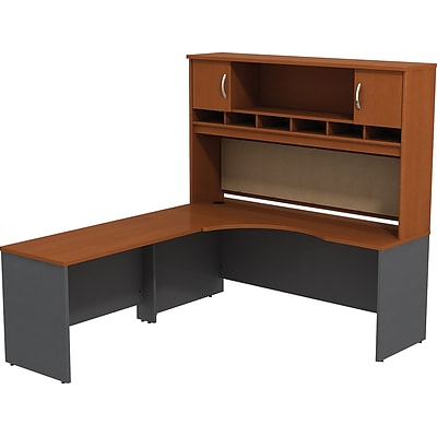 Bush Westfield 72W LH Corner L-Desk w/ 72W 2-Door Hutch; Autumn Cherry/Graphite Gray, Installed