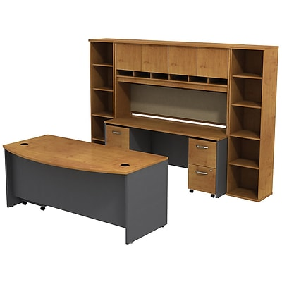 Bush West 72W BowFrnt Desk w/72W Credenza; Hutch & (2) Bookcases, Nat Chry/Graphite Gray, Installed