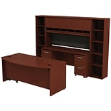 Bush Westfield 72W Bowfront Desk w/ 72W Credenza; Hutch & (2) Bookcases, Cherry Mahogany, Installed