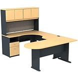 Bush Business Cubix 60W Corner Desk U-Config w/Bridge; Peninsula & Hutch, Euro Beech/Slate, Install