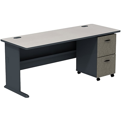 Bush Business Cubix 72W Desk with 2-Drawer Mobile Pedestal; Slate/White Spectrum, Installed