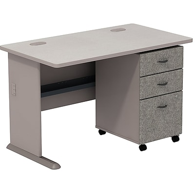 Bush Business Cubix 48W Desk with 3-Drawer Mobile Pedestal; Pewter/White Spectrum, Installed