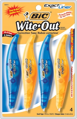 BIC Wite-Out Exact Liner Correction Tape, 4/Pk (WOELP418)