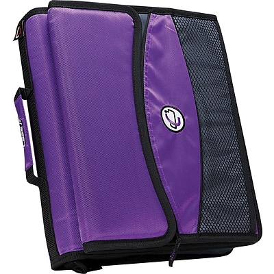 Case•it D-901 2 Purple Zipper Binder with Removable Expanding File