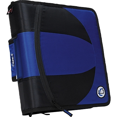 Case-it Dual-101 2-in-1 D-Ring Zipper Binder with Hold Down Pages, 1-1/2, Blue