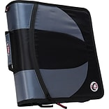 Case•it Dual-101 Black 2-in-1 1/2 D-Ring Zipper Binder with Hold Down Pages
