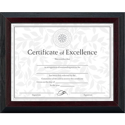 Dax Solid Wood Award and Certificate Frame, Black/Walnut, 8 1/2 x 11,
