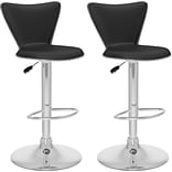 CorLiving™ Leather Tall Curved Back Adjustable Bar Stools, 2/Set