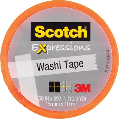 Scotch® Expressions Washi Tape, Orange Solid, 0.59 x 393