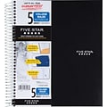 Mead® Five Star® Wirebound Notebook, 5-Subject, College Ruled, 8-1/2 x 11, Black