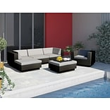 Sonax™ Park Terrace 6 Piece Double Armrest Sectional Patio Set; Textured Black