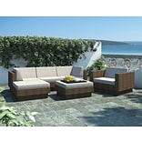 Sonax™ Park Terrace Saddle Strap 6 Piece Double Armrest Sectional Patio Set; Coral Sand