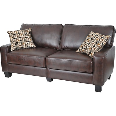 Serta RTA Monaco Collection, 77 Leather Sofa, Brown