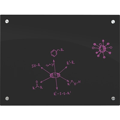 Enlighten Glass Dry Erase Markerboard, 4 x 6, Black