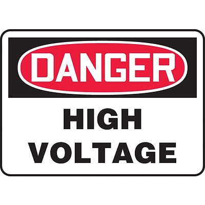 Accuform Signs® 10 x 14 Vinyl Electrical Sign DANGER HIGH VOLTAGE, Red/Black On White