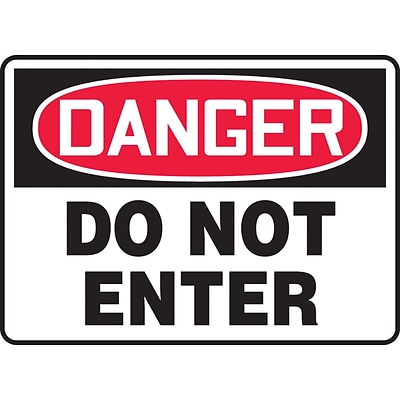 Accuform Signs® 7 x 10 Plastic Safety Sign DANGER DO NOT ENTER, Red/Black On White