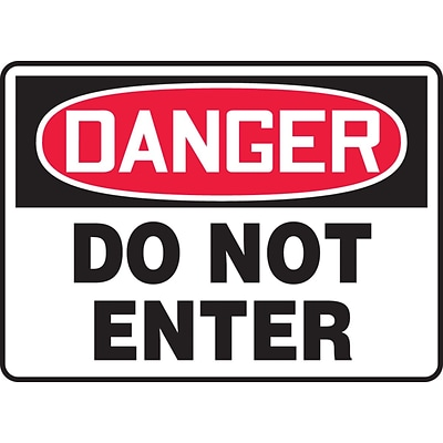 Accuform Signs® 10 x 14 Vinyl Safety Sign DANGER DO NOT ENTER, Red/Black On White