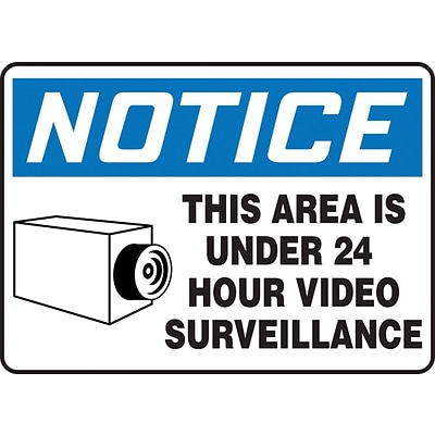 Accuform Signs® 10 x 14 Aluminum Safety Sign NOTICE THIS AREA IS..W/GRAPHIC, Blue/Black On White