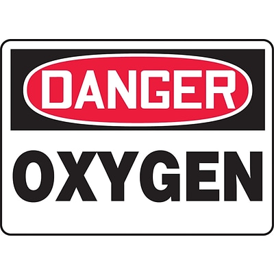 Accuform Signs® 10 x 14 Adhesive Vinyl Safety Sign DANGER OXYGEN, Red/Black On White