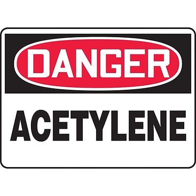 Accuform Signs® 7 x 10 Adhesive Vinyl Safety Sign DANGER ACETYLENE, Red/Black On White