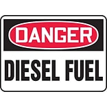 Accuform Signs® 10 x 14 Adhesive Vinyl Safety Sign DANGER DIESEL FUEL, Red/Black On White