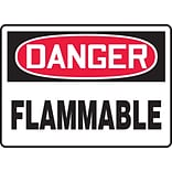 Accuform Signs® 7 x 10 Adhesive Vinyl Safety Sign DANGER FLAMMABLE, Red/Black On White