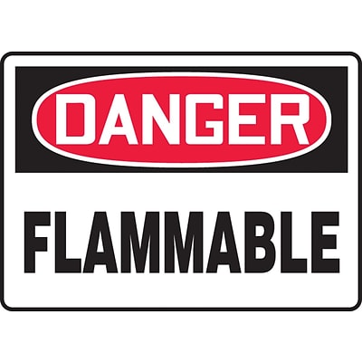 Accuform Signs® 7 x 10 Plastic Safety Sign DANGER FLAMMABLE, Red/Black On White