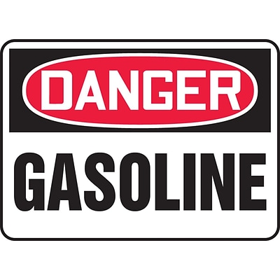 Accuform Signs® 7 x 10 Aluminum Safety Sign DANGER GASOLINE, Red/Black On White