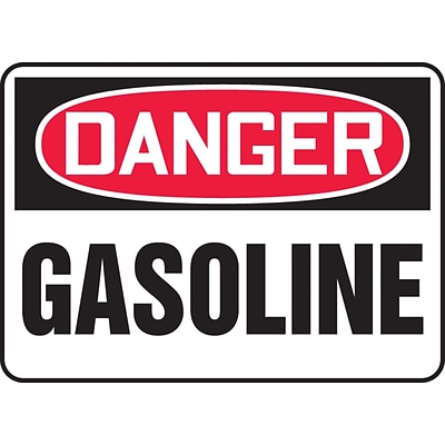Accuform Signs® 10 x 14 Plastic Safety Sign DANGER GASOLINE, Red/Black On White