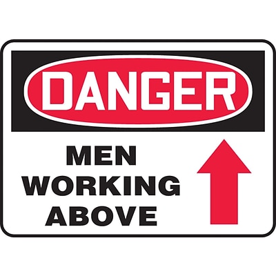 Accuform Signs® 10 x 14 Adhesive Vinyl Safety Sign DANGER MEN WORKING ABOV.., Red/Black On White
