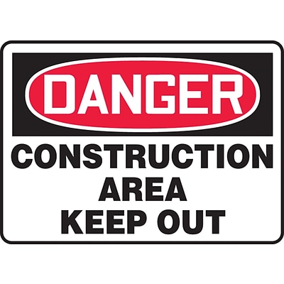 Accuform Signs® 7 x 10 Aluminum Safety Sign DANGER CONSTRUCTION AREA KEEP.., Red/Black On White