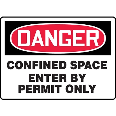Accuform Signs® 10 x 14 Aluminum Confined Space Sign DANGER CONFINED.., Red/Black On White