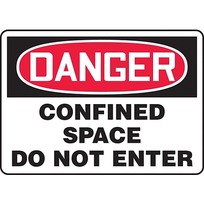 Accuform Signs® 10 x 14 Vinyl Confined Space Sign DANGER CONFINED SPACE.., Red/Black On White