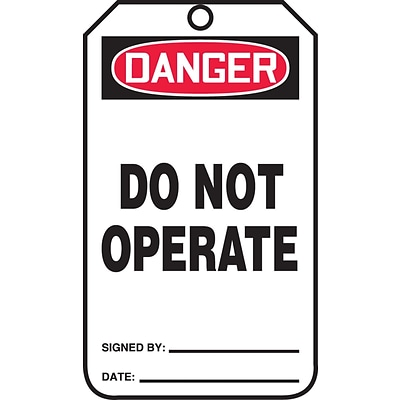 Accuform Signs® 5.75 x 3.25 PF-Cardstock Safety Tag DANGER DO NOT OPERATE, Red/Black On White