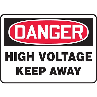 Accuform Signs® 10 x 14 Vinyl Electrical Sign DANGER HIGH VOLTAGE KEEP.., Red/Black On White