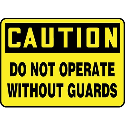 Accuform Signs® 10 x 14 Vinyl Safety Sign CAUTION DO NOT OPERATE WI.., Black On Yellow