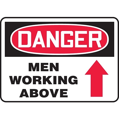 Accuform Signs® 7 x 10 Aluminum Safety Sign DANGER MEN WORKING ABOV.., Red/Black On White