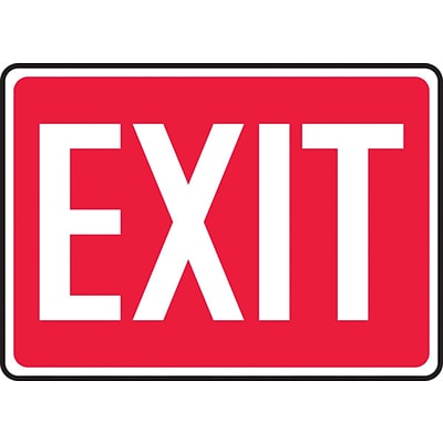 Accuform Signs® 10 x 14 Plastic Safety Sign EXIT, White On Red