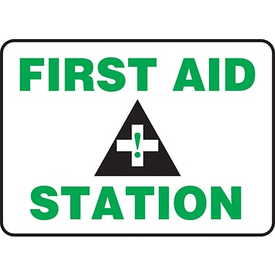 Accuform Signs® 7 x 10 Adhesive Vinyl Safety Sign FIRST AID STATION, Green/Black On White