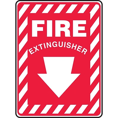Accuform Signs® 10 x 7 Vinyl Fire Safety Sign FIRE EXTINGUISHER (ARROW), White On Red