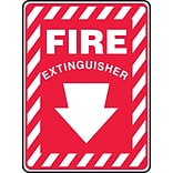 Accuform Signs® 14 x 10 Plastic Fire Safety Sign FIRE EXTINGUISHER (ARROW), White On Red
