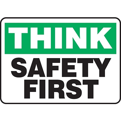 Accuform Signs® 7 x 10 Aluminium Safety Incentive Sign THINK SAFET.., Green/Black On White