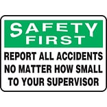 Accuform Signs® 7 x 10 Aluminum Safety Incentive Sign SAFETY FIRS.., Green/Black On White