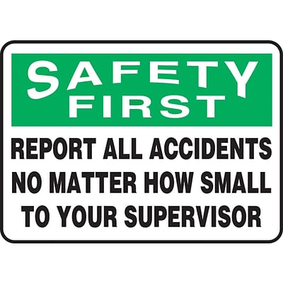 Accuform Signs® 10 x 14 Plastic Safety Incentive Sign SAFETY FIRS.., Green/Black On White