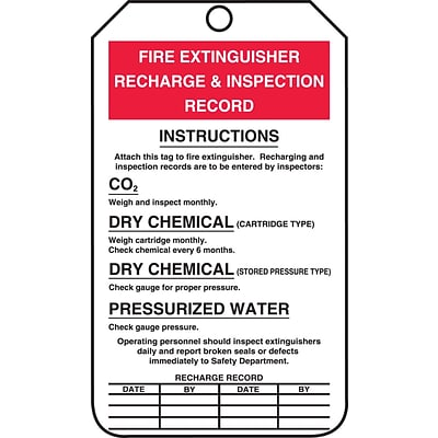 Accuform Signs® 5 3/4 x 3 1/4 PF-Cardstock Fire Inspection Tag FIRE.., Red/Black On White